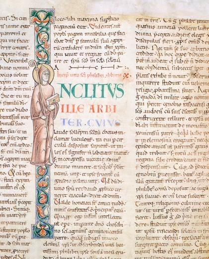 Stock Photo: 1788-32979 Illuminated page from the Morals on the Book of Job (Moralia in Job) by Saint Gregory the Great, manuscript 168 folio 4 verso, Citeaux, France 12th Century.