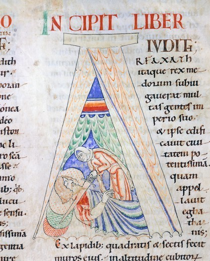 Stock Photo: 1788-32985 Judith and Holofernes, miniature from the Bible of Stephen Harding, manuscript from Citeaux, France 12th Century.