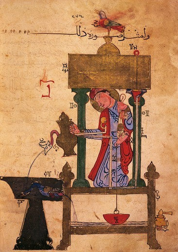 Automation device for pouring water, miniature from the Book of Knowledge of Ingenious Mechanical Devices by Al-Jazari, 1203, Turkey. : Stock Photo