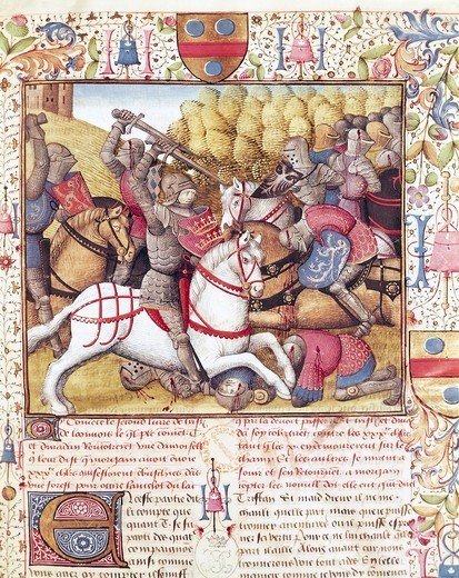 Stock Photo: 1788-33018 Clash of Cavalry, miniature from Roman de Tristan, manuscript, France 15th Century.