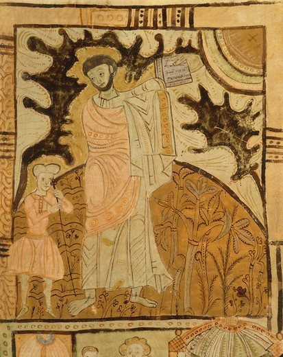 Stock Photo: 1788-33019 Moses and the tablets of the law, miniature from Expositiones supra genesis (Expotions above Genesis), manuscript, Italy 11th Century.