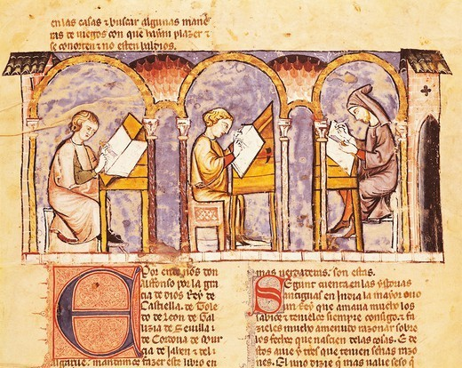 Maker of games' boards, miniature from The Book of Games by Alfonso X the Wise from Castilia, 1282, Spain. : Stock Photo