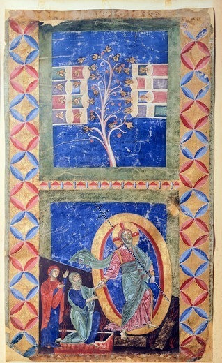 Stock Photo: 1788-33027 Vocation of Peter and Andrew, the Apostles, miniature from Rotulus Exultet (Easter Proclamation), manuscript, 14th Century.