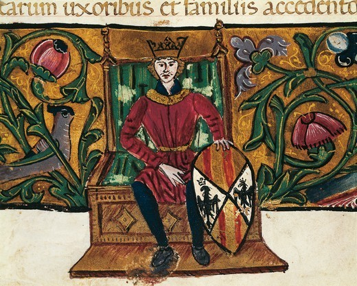 King Peter of Aragon,miniature from Privileges bestowed by the King on the city Palermo, manuscript, 14th-15th Century. : Stock Photo
