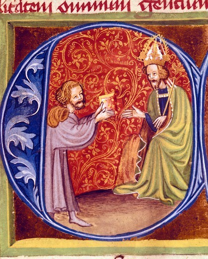 Pietro de Crescenzi presenting a copy of his agricultural treatise to King Charles IV of Bohemia, miniature from Liber Ruralium Commodorum (Book of Rural Profits), Czech Republic 15th Century. : Stock Photo