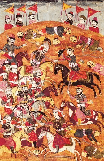 Stock Photo: 1788-33089 Fighting against Asian troops, miniature from Shahnameh or The Persian Book of Kings, by Ferdowsi, Arabic manuscript, Persia 17th Century.