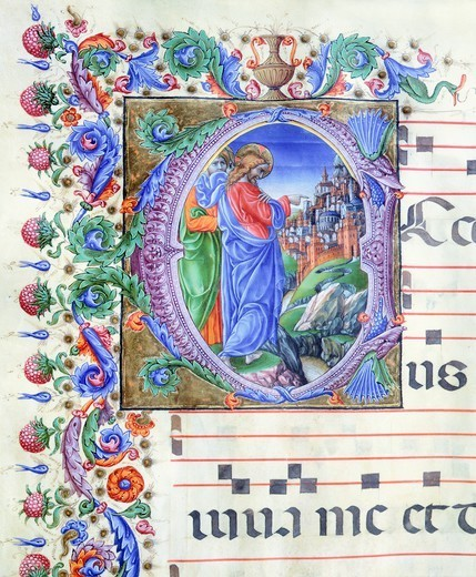 Stock Photo: 1788-33107 Initial, miniature by Liberale of Verona from a medieval gradual, 15th Century.