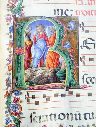 Initial, miniature by Liberale of Verona from a medieval gradual, 15th Century. : Stock Photo