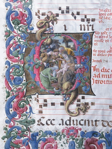 Stock Photo: 1788-33110 Initial capital letter with the Adoration of the Magi, miniature by Girolamo of Cremona and the Liberale of Verona from a gradual, manuscript, Italy 15th Century.