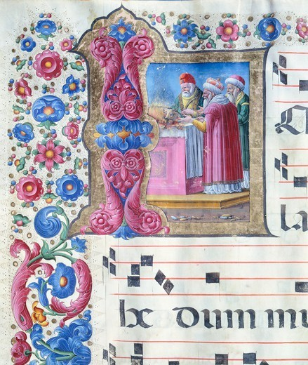 Stock Photo: 1788-33112 Initial capital letter with a scene of sacrifice, miniature by Girolamo of Cremona from a gradual, manuscript, Italy 15th Century.