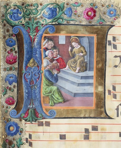 Stock Photo: 1788-33113 Initial capital letter with child Jesus among the doctors, miniature by Girolamo of Cremona and the Liberal of Verona from a gradual, manuscript, Italy 15th Century.