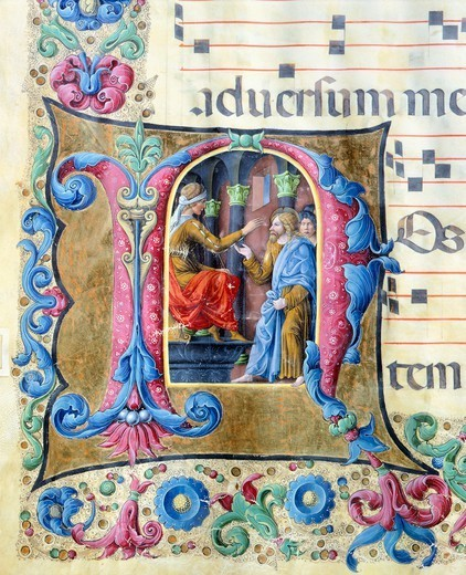Initial capital letter with Jesus in front of Pontius Pilate, miniature by Girolamo of Cremona and the Liberale of Verona from a gradual, manuscript, Italy 15th Century. : Stock Photo