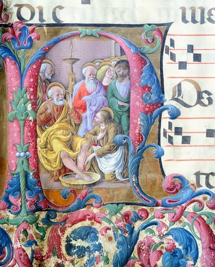 Stock Photo: 1788-33115 Initial capital letter with Jesus washing the feet of the apostles, miniature by Girolamo of Cremona and the Liberale of Verona from a gradual, manuscript, Italy 15th Century.
