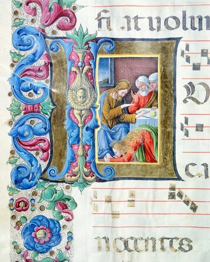Stock Photo: 1788-33116 Miniature, by Girolamo of Cremona and Liberale of Verona, from a gradual (hymn), manuscript, Italy 15th Century.