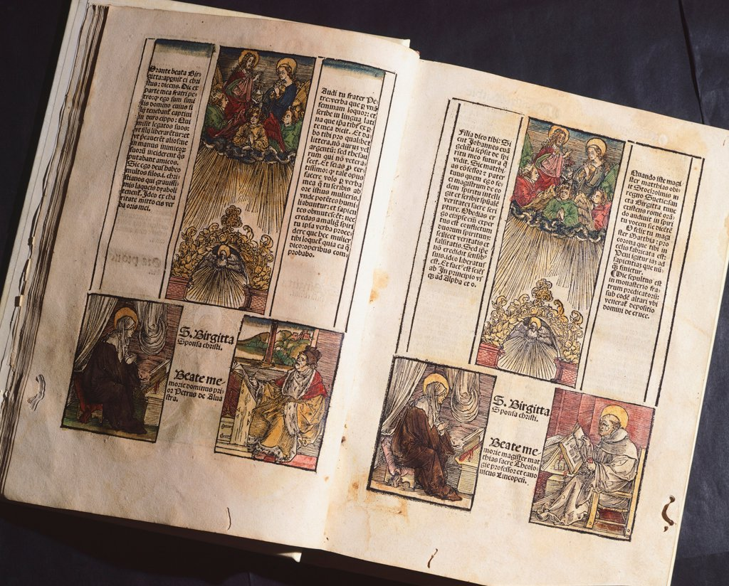 Illuminated page from a manuscript preserved in St Scholastica Library in Subiaco, Lazio, Italy. : Stock Photo
