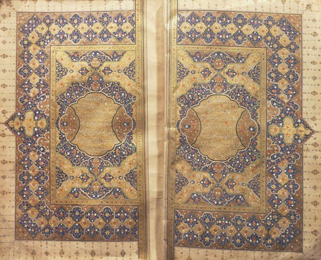 Koran illuminated by the Yakurt el Musta'simi School, 1171-1250. : Stock Photo