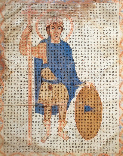 Stock Photo: 1788-33209 Portrait of Louis I known as the Pious, miniature from De laudibus sanctae crucis by Rabano Mauro, Germany 11th century.