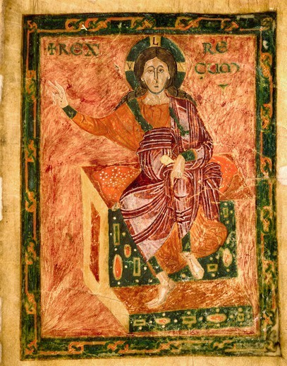 Stock Photo: 1788-33219 Christ on the throne, miniature from the Homilies by Saint Gregory, from the Nonantola School, Italy 9th Century.