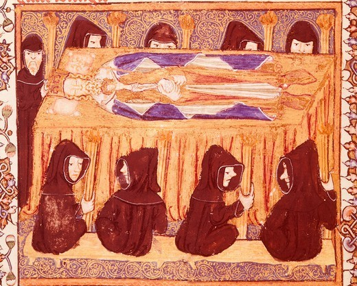 The burial of an English king, from the Liber Regalis, manuscript, 14th Century. : Stock Photo