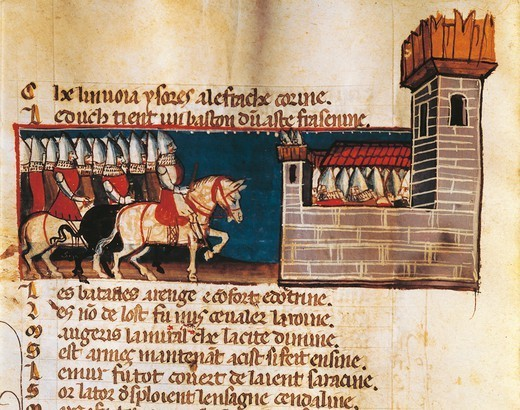 Knights arriving at a fortress, miniature from the Entree d'Espagne manuscript, 14th Century. : Stock Photo