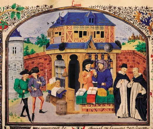 Stock Photo: 1788-33295 The three species of friendship, miniature from Ethics, Politics, the Economy, by Aristotle, manuscript, folio 127 verso, France 15th Century.