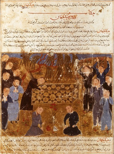 Stock Photo: 1788-33320 Genghis Khan's funeral: Mongols in mourning clothes, miniature from a Persian manuscript.