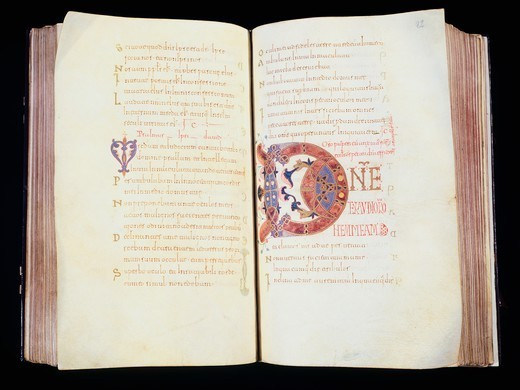 Stock Photo: 1788-33347 Illuminated pages from the Book of Hours by King Ferdinand I the Great, manuscript, 11th Century.