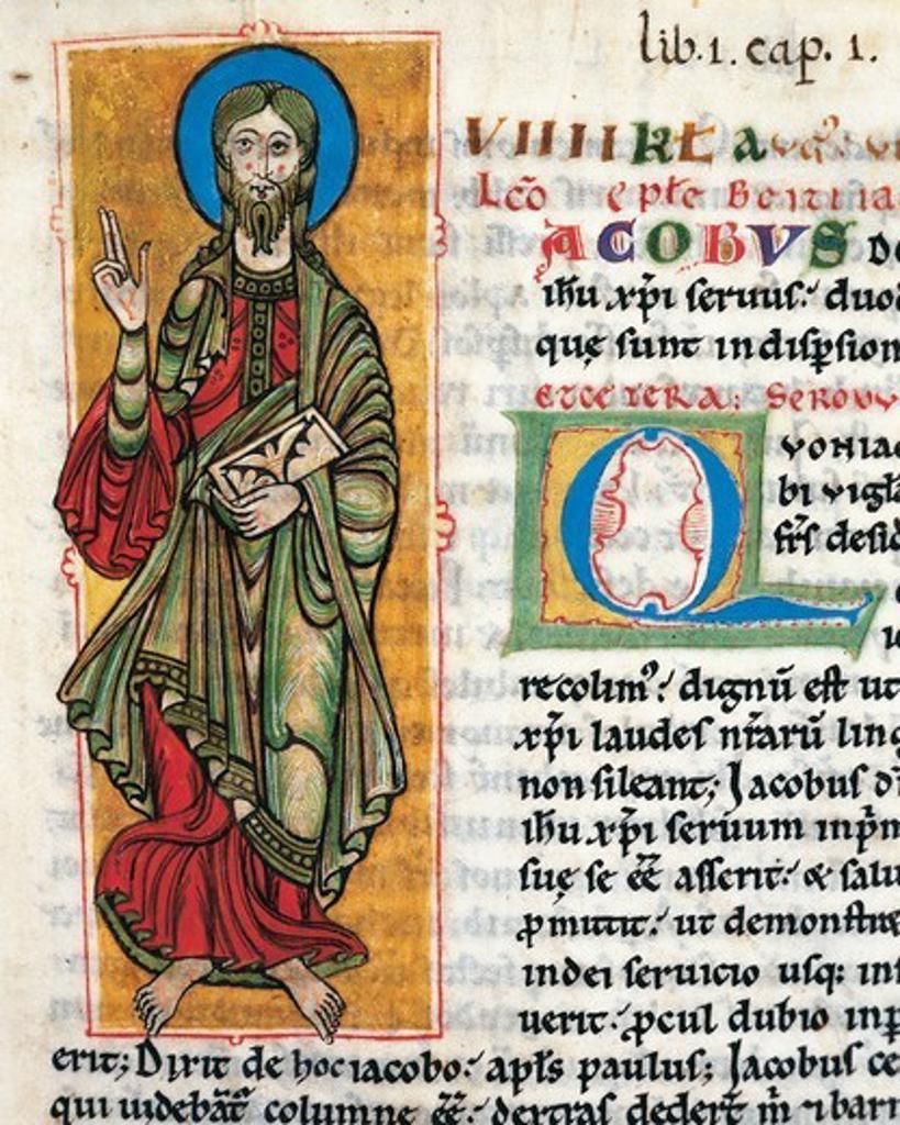Saint James, miniature from the Calixtinus Code, Latin manuscript folio 4 recto, 12th Century. : Stock Photo
