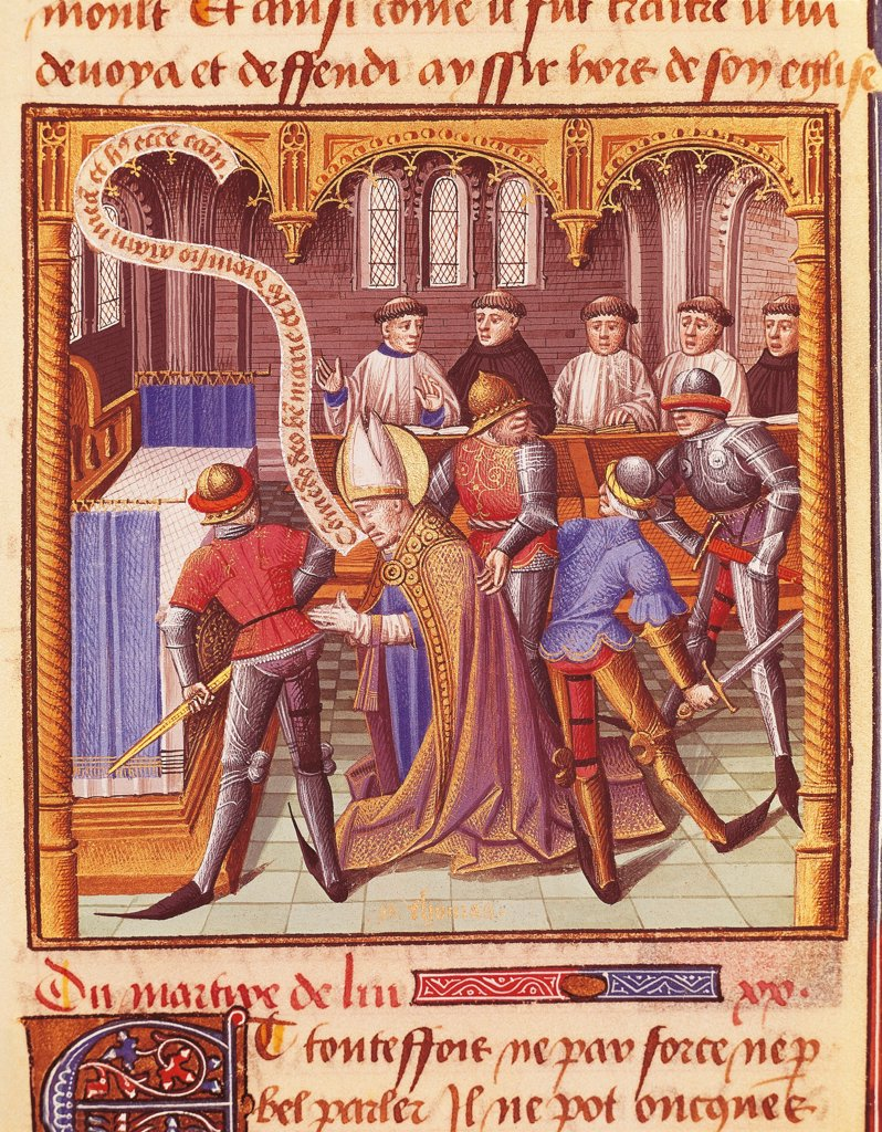 Stock Photo: 1788-33365 The murder of Thomas Beckett, miniature from The Mirror of History by Vincent de Beauvais (Vincenzo di Beauvais), manuscript, France 15th Century.