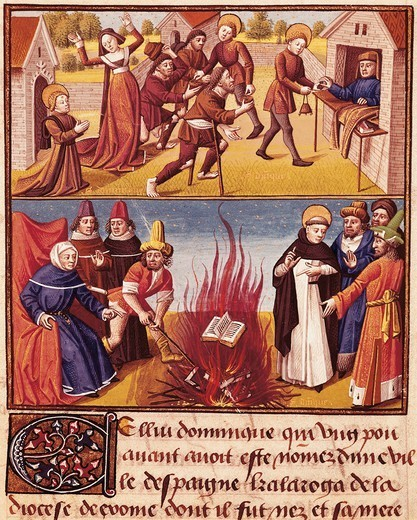Stock Photo: 1788-33379 Saint Dominic burning the books of the Albigensians, miniature from Le Miroir Historial by Vincent of Beauvais, manuscript, France 15th Century.