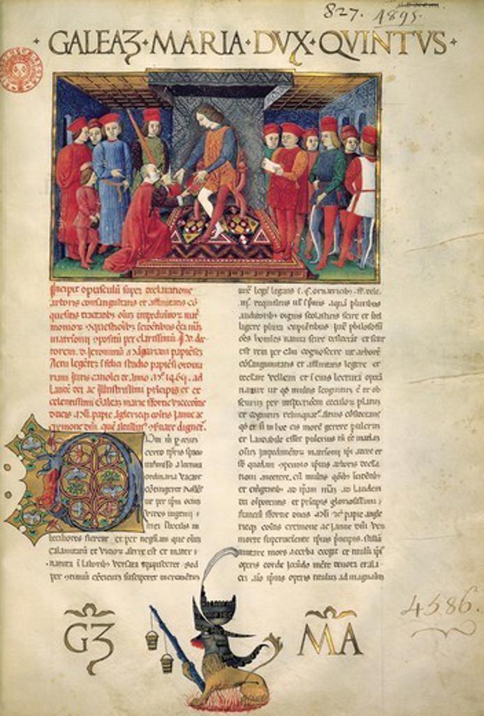 Galeazzo Visconti, illuminated page from the Lombard School the Opusculum super declarationem arboris consanguinatis et affinitatis by Gerolamo Mangiaria. : Stock Photo