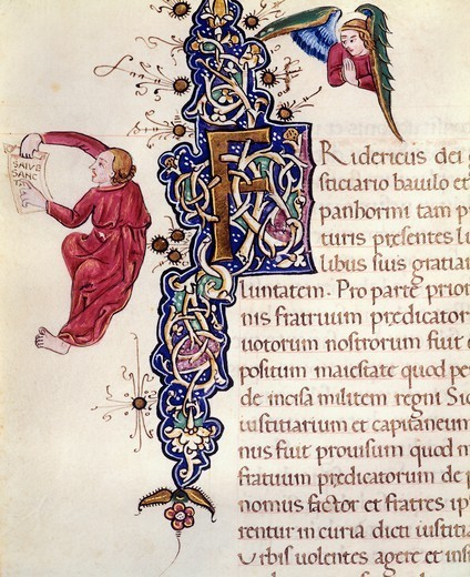 Stock Photo: 1788-33431 Initial capital letter, miniature from the Book of Privileges by Federico d'Aragona, Italy 14th-15th Century.
