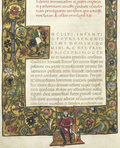 Stock Photo: 1788-33432 Italy - 14th-15th century - Peter of Aragon, Book of Privileges. Illuminated manuscript, incipit