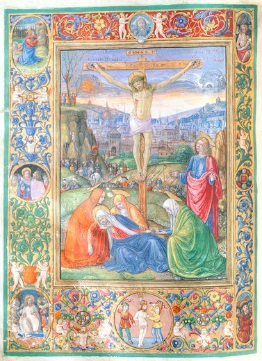 Crucifixion of Jesus, miniature from a missal by Monte Giovanni, Italy 16th Century. : Stock Photo