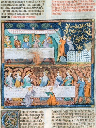 Stock Photo: 1788-33535 Royal banquet, miniature from Guyart des Moulins and Peter Comestor's Bible, manuscript, end 13th Century-beginning 14th Century.