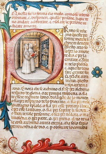 Comforting the condemned, illuminated page from the Ritual of the Brethrens from the Mercy of Genoa, manuscript 15th Century. : Stock Photo