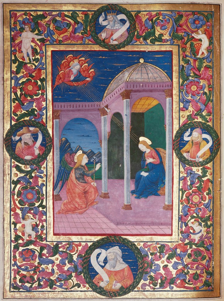 Stock Photo: 1788-33565 The Annunciation, miniature from of Bishop Pallavicino, Latin Code parchment 6 8 folio verso, 15th Century.