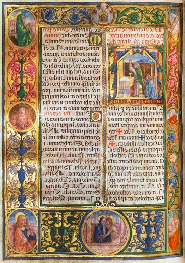 Illuminated page, from the Missal by Monte Giovanni, 1502, manuscript, Italy : Stock Photo