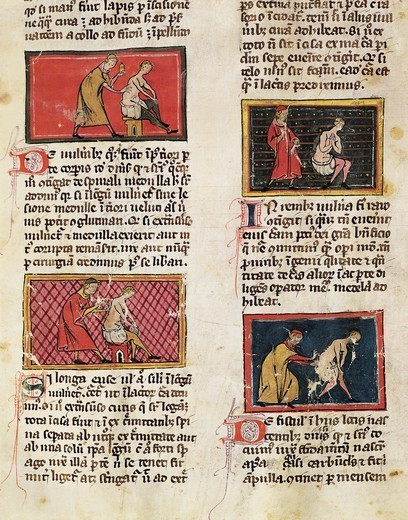 Stock Photo: 1788-33616 Medical treatments of the sick at the Medical University of Montpellier, miniature from The Surgery of Master Rogerius by Roggerio dei Frugardi or Rogerius Salernitanus, Latin manuscript, France 14th century.