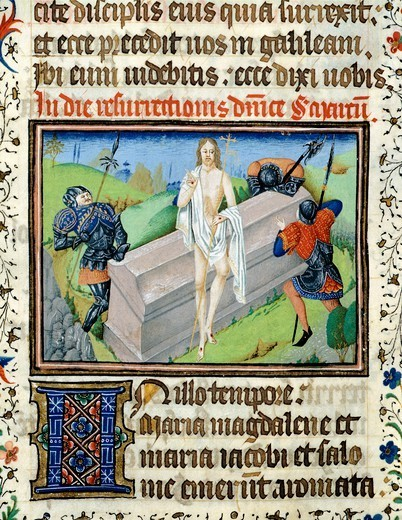 Stock Photo: 1788-33625 The Resurrection of Jesus, miniature from the Saint Wulfram Gospels, manuscript folio 249 recto, France 15th Century.