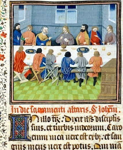 The last supper, miniature from the Saint Wulfram Gospels, manuscript folio 249 recto, France 15th Century. : Stock Photo
