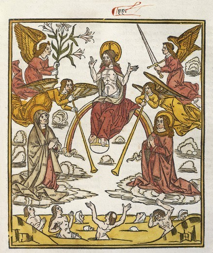 The universal judgement, from De Civitate Dei (The City of God) by Augustine of Hippo, French incunabulum from the workshop of Abbeville, 1486-1487. : Stock Photo