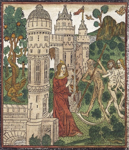 Adam and Eve being expelled from Paradise and killed with a scythe, from De Civitate Dei (The City of God) by Augustine of Hippo, French incunabulum from the workshop of Abbeville, 1486-1487. : Stock Photo