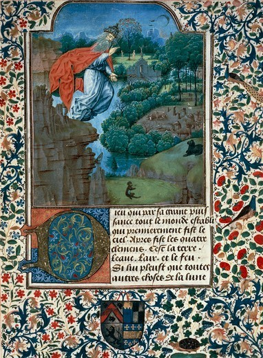 Stock Photo: 1788-33642 The creation of the world, miniature from the Treaty of Medicine by Aldebrande of Florence, manuscript folio 1, 1356, Italy 14th Century.