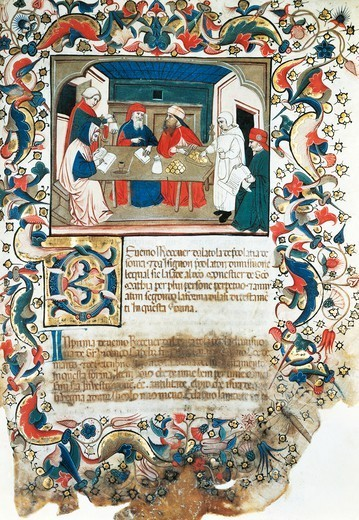 Stock Photo: 1788-33658 Businessmen closing a deal, miniature from Code of the register of Maffio, 1391, Italy.