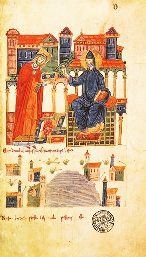 Stock Photo: 1788-33667 The Abbot of Montecassino offering codes and possessions to Saint Benedict, miniature from Vatican Latin Code 1202 folio 2 recto, Italy 6th Century.