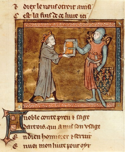 Adenes Le Roi (Adam le Roi) known as the King of Minstrels presenting his book to the Count of Artois, miniature from a Latin manuscript, 13th Century. : Stock Photo
