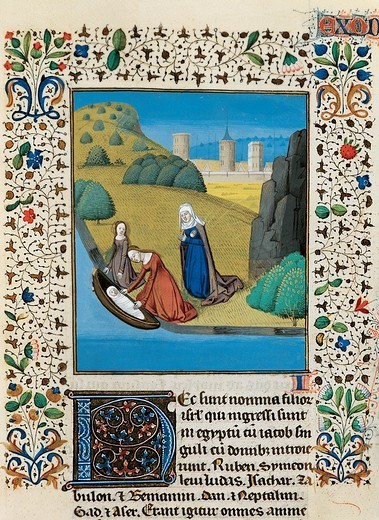 Stock Photo: 1788-33671 Moses being saved from the river, miniature from the Bible of John, manuscript, 15th Century.
