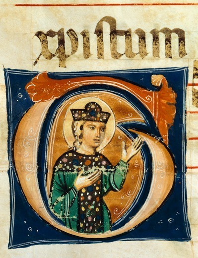 Initial capital letter G depicting the figure of a saint, miniature from a medieval choral manuscript, Latin manuscript, 13th Century. : Stock Photo