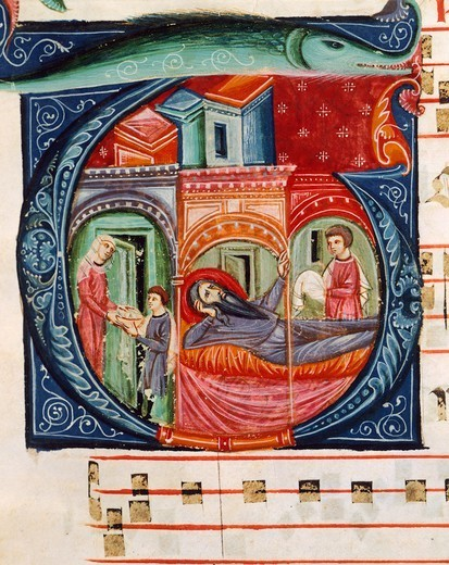 Initial capital letter G depicting a biblical scene, miniature from a medieval choral manuscript, Latin manuscript, 13th Century. : Stock Photo